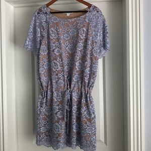 DVF purple lace dress with drawstring waist